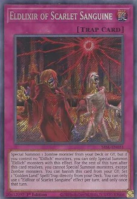 YuGiOh Secret Slayers Secret Rare Eldlixir of Scarlet Sanguine SESL-EN031