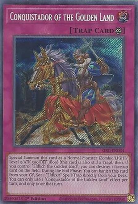 YuGiOh Secret Slayers Secret Rare Conquistador of the Golden Land SESL-EN034