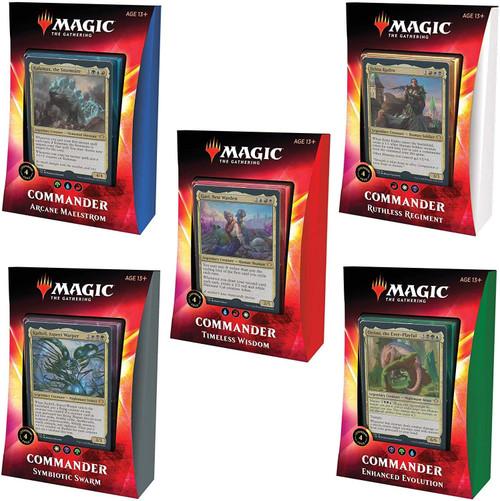 MtG Trading Card Game 2020 Commander Set of 5 Decks [Ruthless Regiment, Arcane Maelstrom, Symbiotic Swarm, Timeless Wisdom & Enhanced Evolution]