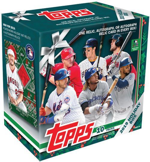 MLB Topps 2019 HOLIDAY Baseball Trading Card MEGA Box [10 Packs, 1 Autograph OR Relic Card]