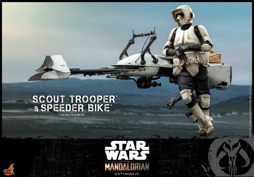 Star Wars The Mandalorian Scout Trooper & Speeder Bike Collectible Figure (Pre-Order ships August)