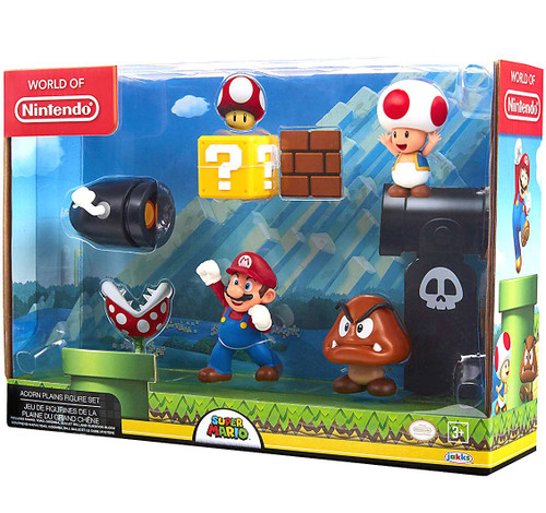 World of Nintendo Super Mario Acorn Plains 2.5-Inch Playset [Bullet Bill, Mario, Toad & Goomba, Damaged Package]