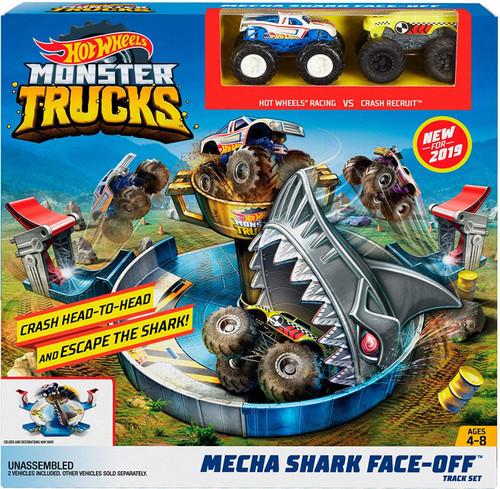 Hot Wheels Monster Trucks Mecha Shark Face-Off Playset
