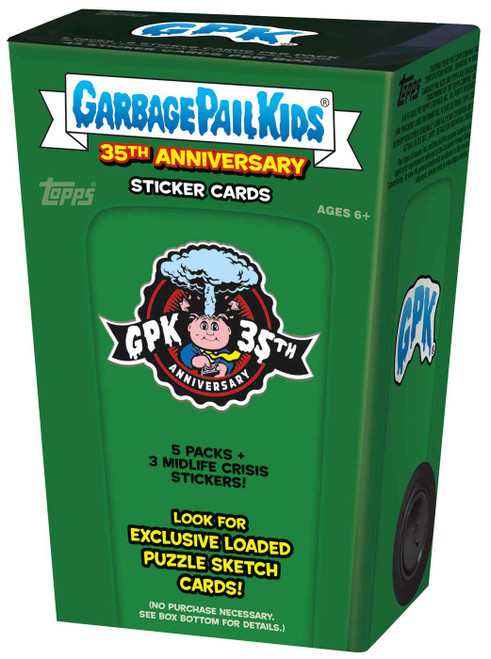 Garbage Pail Kids Topps 2020 Series 2 GPK 35th Anniversary Trading Card BLASTER Box [5 Packs + 3 Midlife Crisis Stickers]