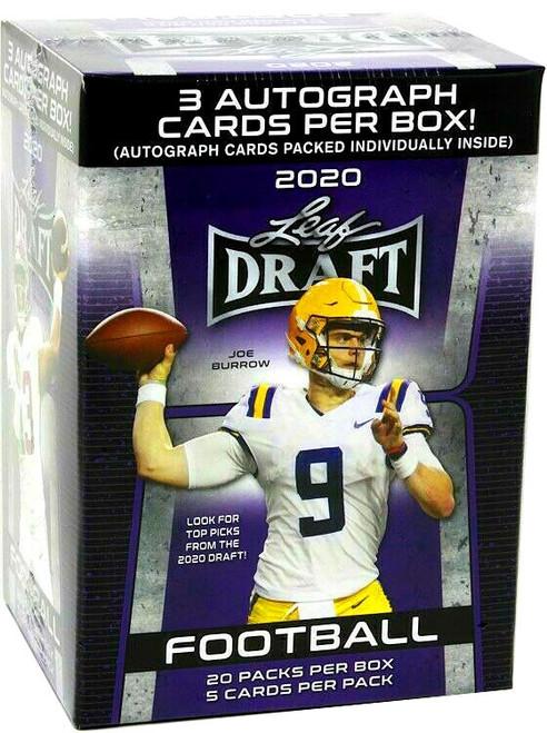 NFL Leaf 2020 Draft Football Trading Card PREMIUM RETAIL BLASTER Box [20 Packs, 3 Autographs!]