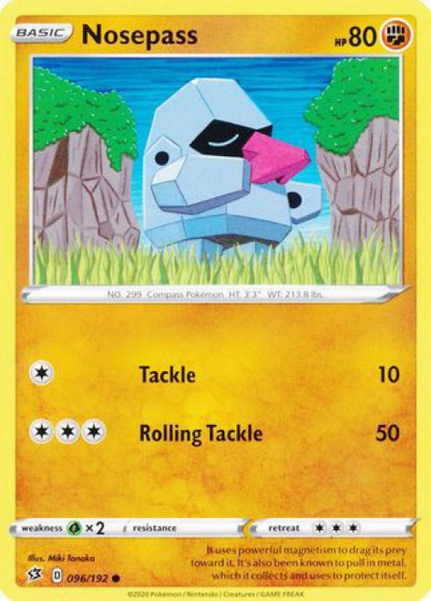 Pokemon Sword and Shield Rebel Clash Common Nosepass #96