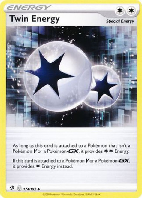 Pokemon Sword and Shield Rebel Clash Uncommon Twin Energy #174