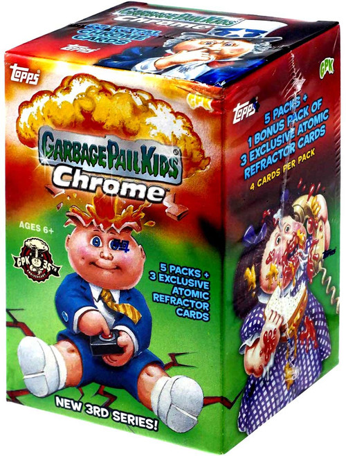 Garbage Pail Kids Topps 2020 Chrome New 3rd Series Trading Card BLASTER Box [5 Packs + 3 Exclusive Atomic Refractor Cards!]
