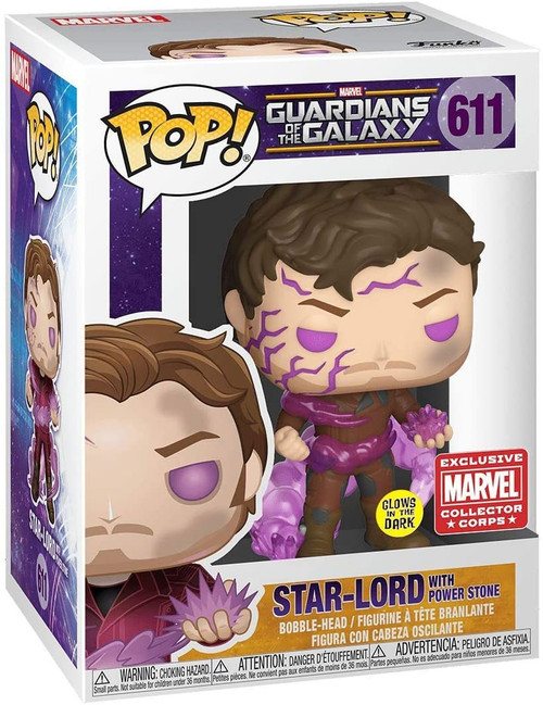 Funko POP! Marvel Star-Lord Exclusive Vinyl Figure #611 [with Power Stone, Glow-in-the-Dark]