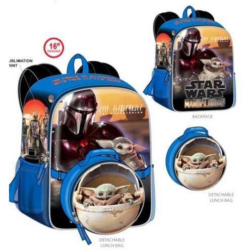 Star Wars The Mandalorian Baby Yoda / Grogu 16-Inch Backpack & Lunch Kit [Detatchable Lunch Bag]