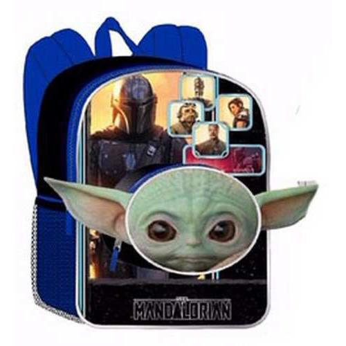 Star Wars The Mandalorian Baby Yoda / Grogu 16-Inch Backpack [Head-Shaped Front Pocket]
