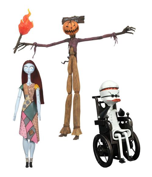 Nightmare Before Christmas Best of Series 2 Jack as the Pumpkin King, Sally & Dr. Finkelstein Set of 3 Action Figures
