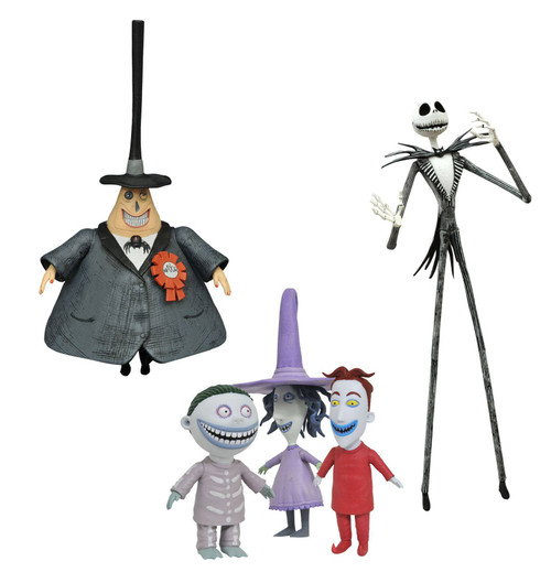 Nightmare Before Christmas Best of Series 1 Jack, the Mayor & Lock, Shock and Barrel Set of 3 Action Figures (Pre-Order ships October)