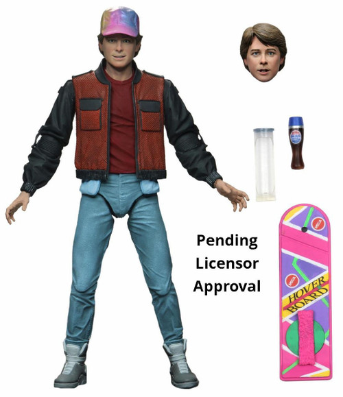 NECA Back to the Future 2 Marty McFly Action Figure [Ultimate Version, Self Lacing Sneakers, Hat & Hoverboard!]