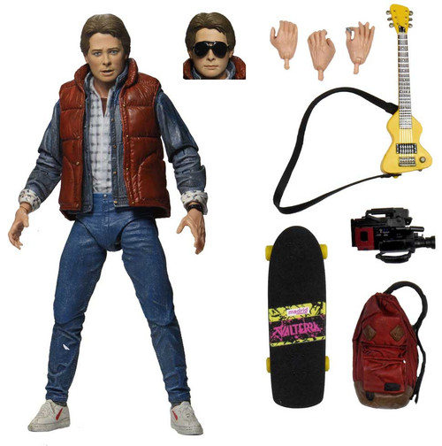 NECA Back to the Future Marty McFly Action Figure [Ultimate Version, Backpack, Skateboard & Guitar]
