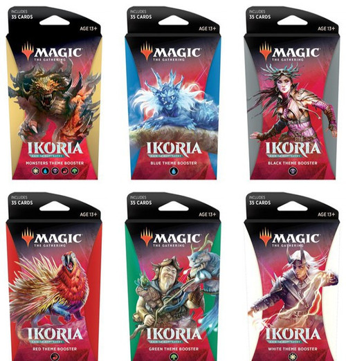 MtG Trading Card Game Ikoria: Lair of Behemoths Black, Blue, Red, Green, White & Monsters Set of 6 Theme Booster Packs