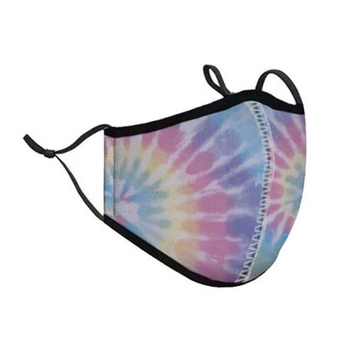 Top Trenz Neoprene, Reusable & Washable Pastel Tie-Dye Face Mask [Kids Ages 3-7]