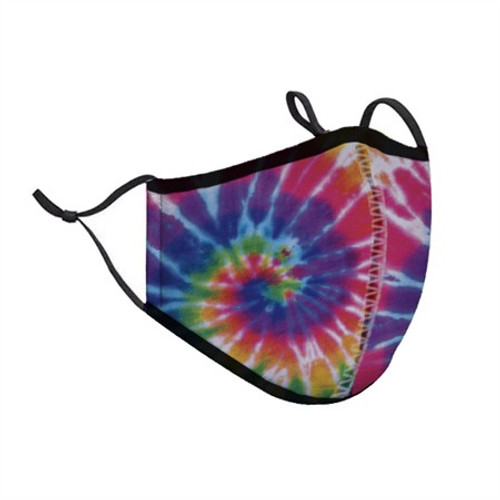 Top Trenz Neoprene, Reusable & Washable Primary Tie-Dye Face Mask [One Size Fits Most, Ages 8+ (Teens / Young Adults)]