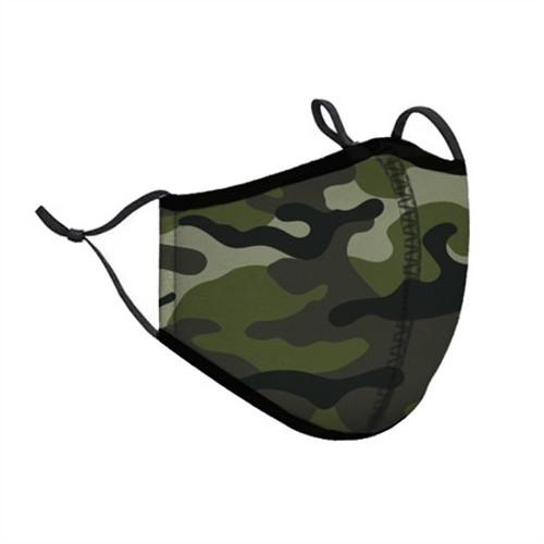 Top Trenz Neoprene, Reusable & Washable Green Camo Face Mask [Adult Men]
