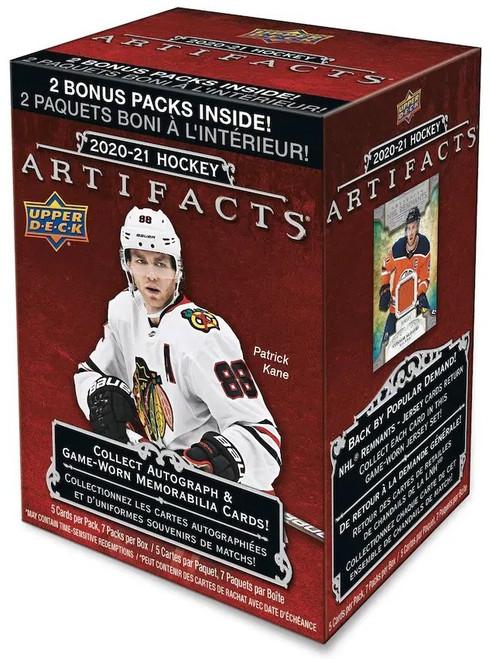 NHL 2020-21 Artifacts Hockey Trading Card BLASTER Box [5 Packs + 2 Bonus Packs!]