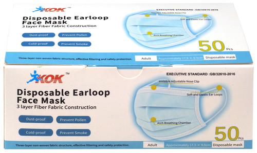 KOK Disposable Earloop Face Mask 50-Pack [3 Layer Fiber Fabric Construction]