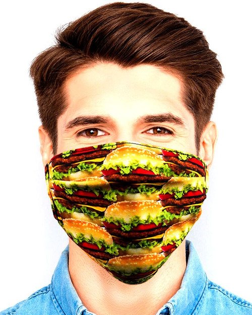 Gotta Get it Gifts Polyester / Spandex, Fabric, Adjustable, 2-Layer Reusable & Washable Hamburgers Face Mask [One Size Fits All]