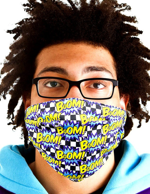 Gotta Get it Gifts Polyester / Spandex, Fabric, Adjustable, 2-Layer Reusable & Washable Boom! Face Mask [One Size Fits All]