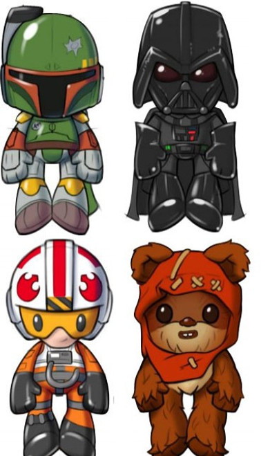 Star Wars Darth Vader, Luke Skywalker, Ewok & Boba Fett Set of 4 Plushies