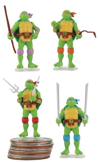 World's Smallest Teenage Mutant Ninja Turtles Leonardo, Michelangelo, Donatello & Raphael 1.25-Inch Set of 4 Micro Figures [World's Coolest]