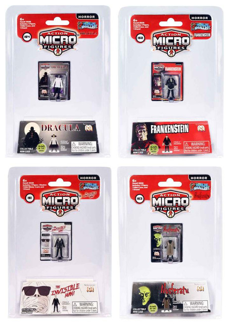 World's Smallest MEGO Horror Frankenstein, The Invisible Man, Nosferatu & Dracula 1.25-Inch Set of 4 Micro Figures
