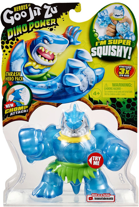 Heroes of Goo Jit Zu Dino Power (Series 3) Thrash the Shark Action Figure [Green Shorts!]