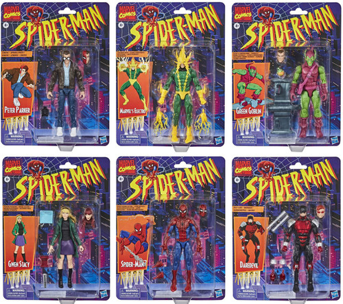 Spider-Man Marvel Legends Vintage (Retro) Series Set of 6 Action Figures (Sealed Case)