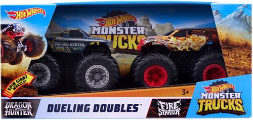 Hot Wheels Monster Trucks Rev Tredz Dueling Doubles Dragon Hunter & Fire Starter Vehicle 2-Pack