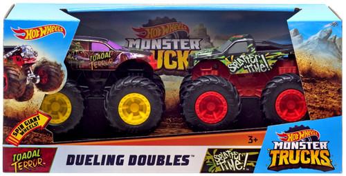Hot Wheels Monster Trucks Rev Tredz Dueling Doubles Toadal Terror & Splatter Time! Vehicle 2-Pack