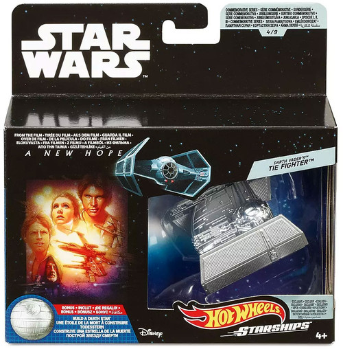 Hot Wheels Star Wars Starships Commemorative Series Darth Vader's TIE Fighter Diecast Vehicle #4 [Includes Build a Death Star Piece!]