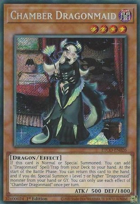 YuGiOh Eternity Code Secret Rare Chamber Dragonmaid ETCO-EN026