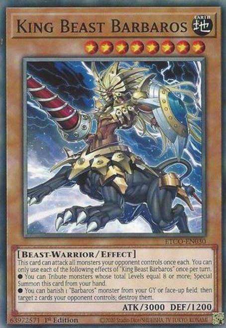 YuGiOh Eternity Code Common King Beast Barbaros ETCO-EN030