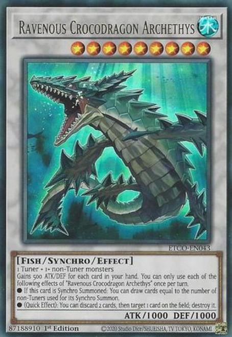 YuGiOh Eternity Code Ultra Rare Ravenous Crocodragon Archethys ETCO-EN043