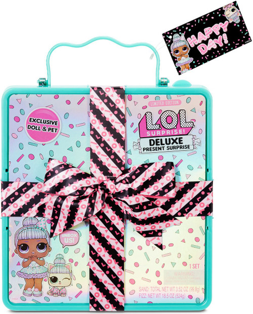 LOL Surprise DELUXE Present Surprise Sprinkles & Pet Sprin-claws Mystery Pack [TEAL]