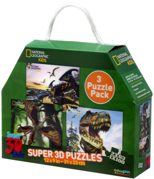 National Geographic Super 3D Kids Dinosaurs Lenticular 3D Puzzle 3-Pack