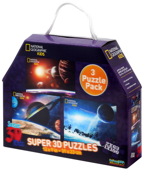 National Geographic Super 3D Kids Space Lenticular 3D Puzzle 3-Pack
