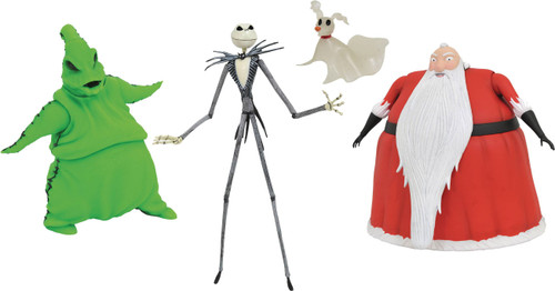 Nightmare Before Christmas Select Series SDCC Jack Skellington, Santa & Oogie Boogie Exclusive Action Figure Boxed Set