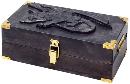 Dungeons & Dragons Adventure Case [Flame Birch Abyssal Black Wood, Crouching Dragon Engraving, Red Felt]