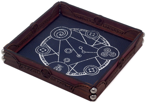 Dungeons & Dragons Scroll Dice Tray [Lapis Leather, Silver Spellcircle Design]