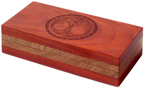 Dungeons & Dragons Sentinel Box [Padauk Wood, Triple Top, Open Bottom, Yggdrasil Engraving]