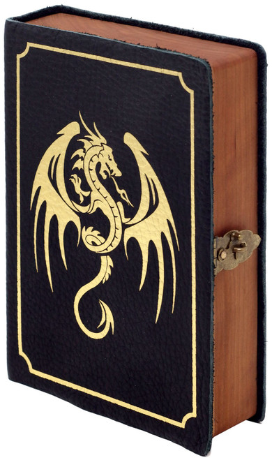 Dungeons & Dragons Spellbook Chest [Onyx Leather, Gold Winged Dragon Art, Gold Foil, Card Foam]