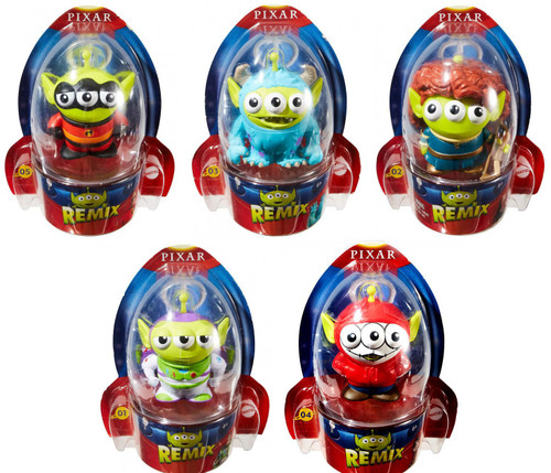 Disney / Pixar Toy Story Alien Remix Series 1 Mr. Incredible, Merida, Sulley, Buzz Lightyear & Miguel 3-Inch Set of 5 Figures