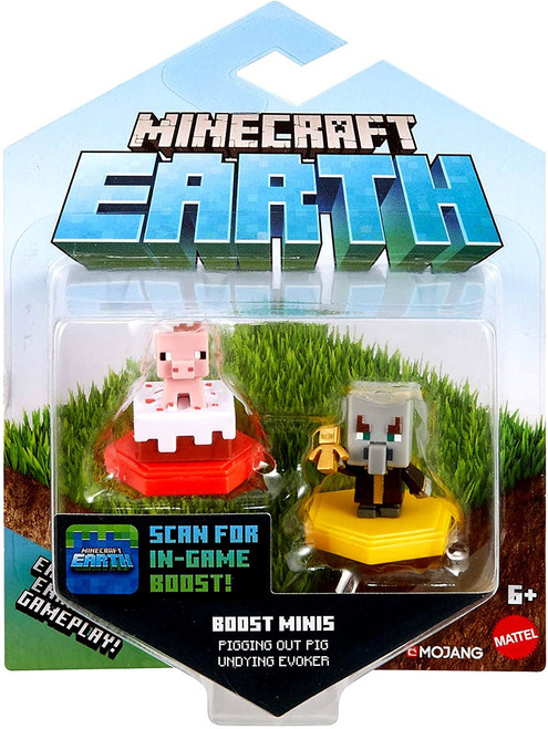 Minecraft Earth Boost Minis Pigging Out Pig & Undying Evoker Figure 2-Pack
