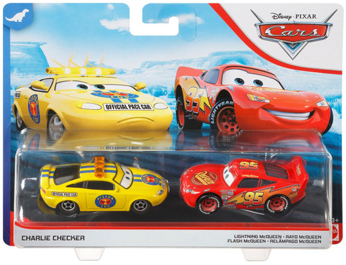 Disney / Pixar Cars Cars 3 Dinoco 400 Charlie Checker & Lightning McQueen Diecast Car 2-Pack