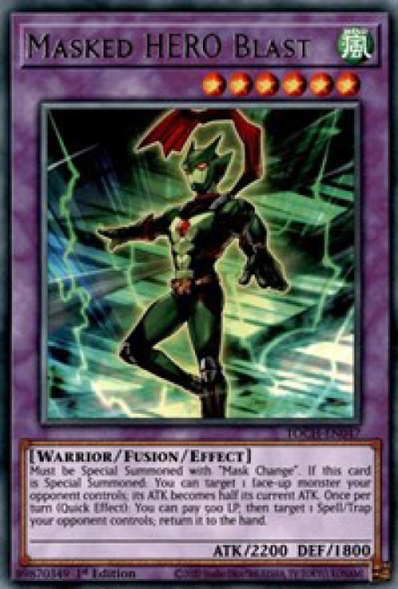 YuGiOh Toon Chaos Rare Masked HERO Blast TOCH-EN047